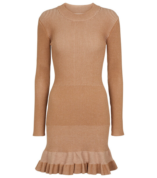 See By Chloé Flared knit minidress in brown