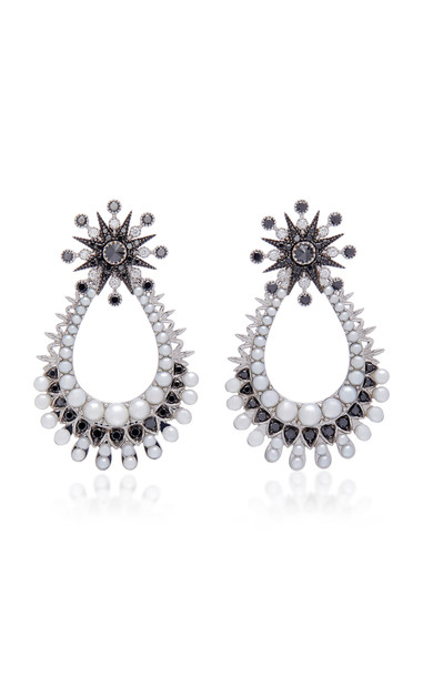 Colette Jewelry 18K Oxidized Gold Diamond Earrings in black / white