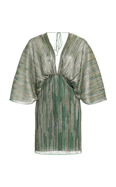 ROTATE Ester Metallic Striped Mini Dress in green