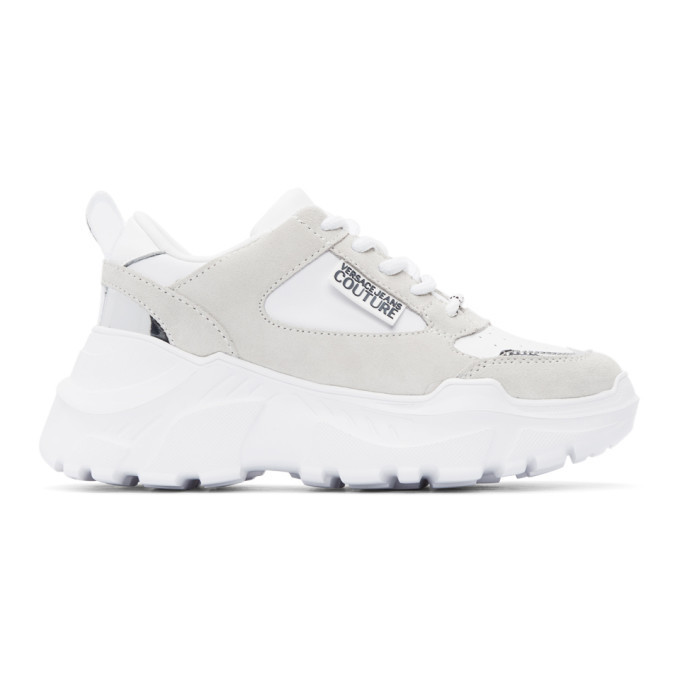 Versace Jeans Couture White Speedtrack Colors Sneakers in bianco