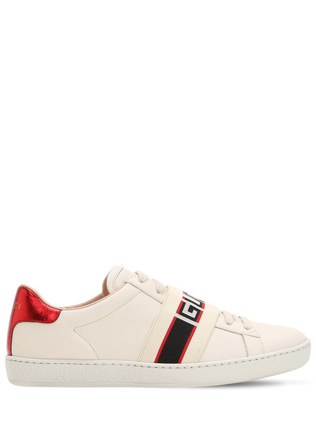 GUCCI New Ace Elastic Band Leather Sneakers in white / multi