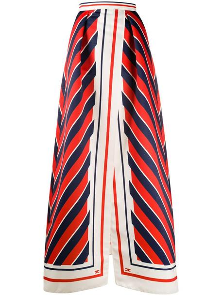 Elisabetta Franchi chevron-print satin A-line maxi skirt in red