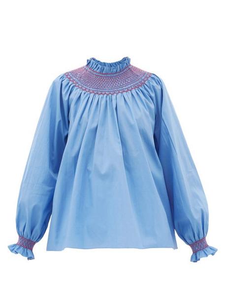 Loretta Caponi - Maria Smocked High-neck Cotton-poplin Blouse - Womens - Blue