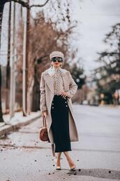 hallie daily,blogger,coat,sunglasses,jewels,shirt,skirt,bag,jeans,pants,dress,midi skirt,spring outfits,pumps,fisherman cap