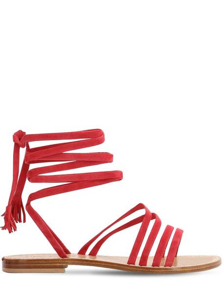 CAPRI POSITANO 10mm Appia Suede Sandals in red