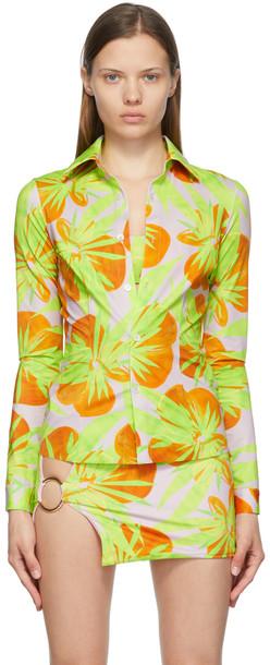 Louisa Ballou Pink & Green Nylon Jersey Shirt