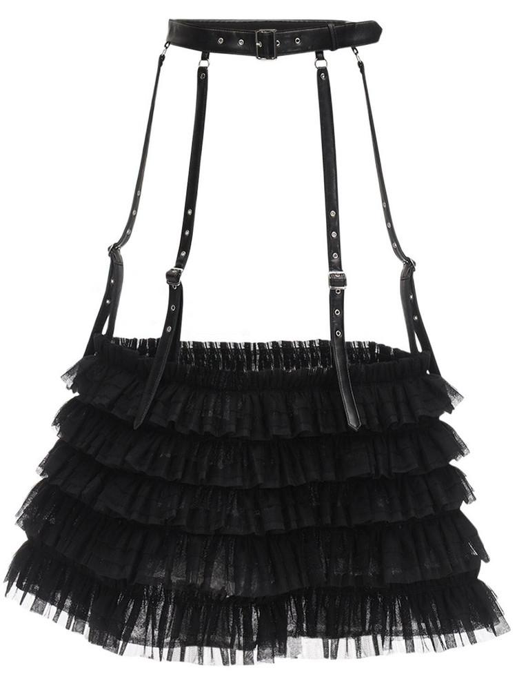 NOIR KEI NINOMIYA Faux Leather & Tulle Maxi Belt in black