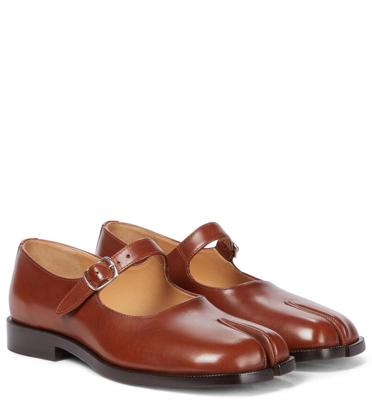 Maison Margiela Tabi Mary Jane leather flats in brown