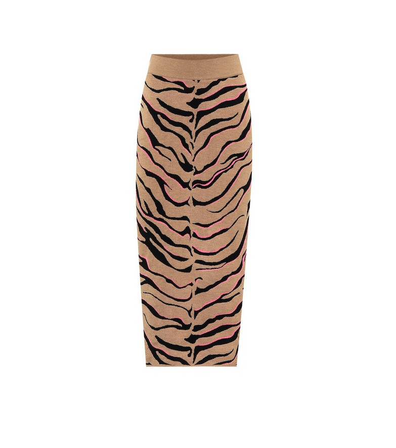 Stella McCartney Tiger-print compact knit pencil skirt in brown