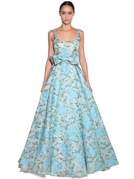 LUISA BECCARIA Embroidered Organza Long Dress in blue