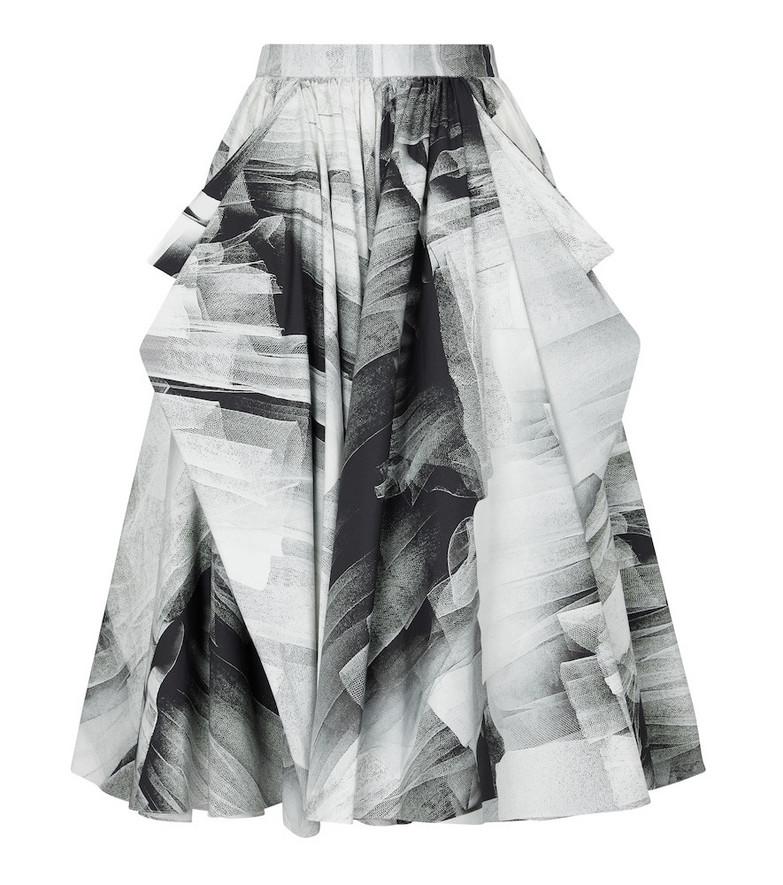 Alexander McQueen Trompe L'oeil cotton midi skirt in black