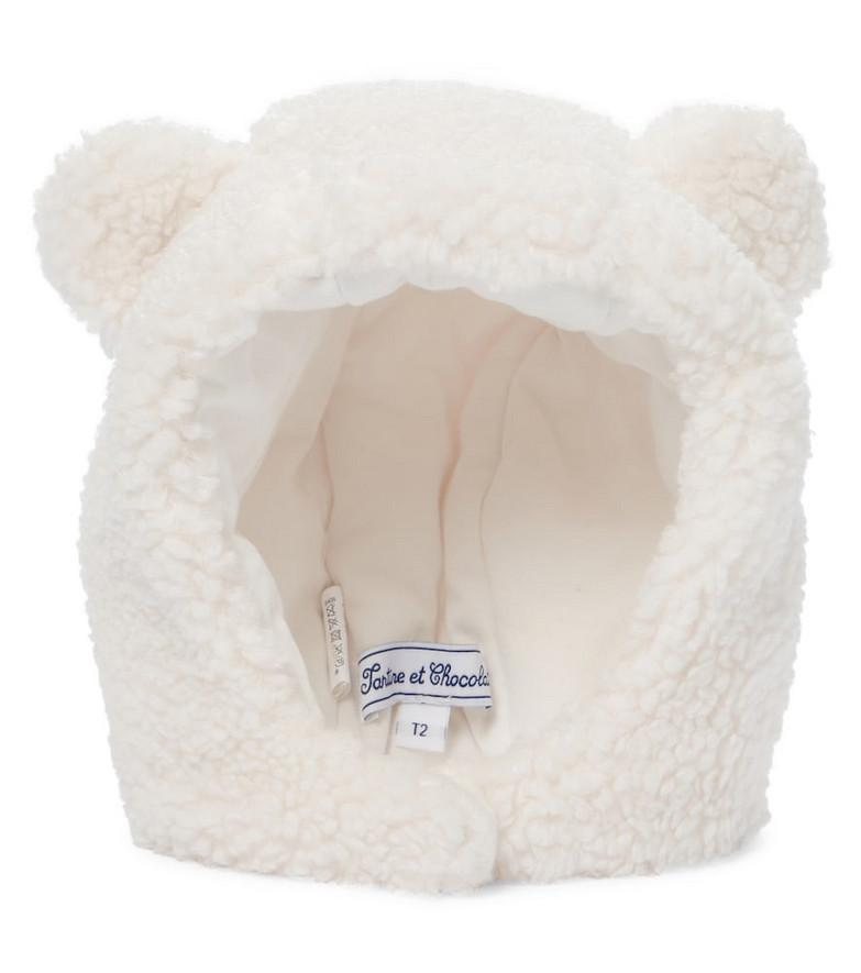 Tartine et Chocolat Baby faux shearling hat in white