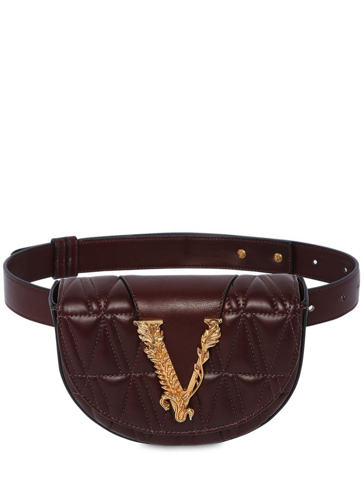 VERSACE Virtus Quilted Leather Belt Bag in chocolate