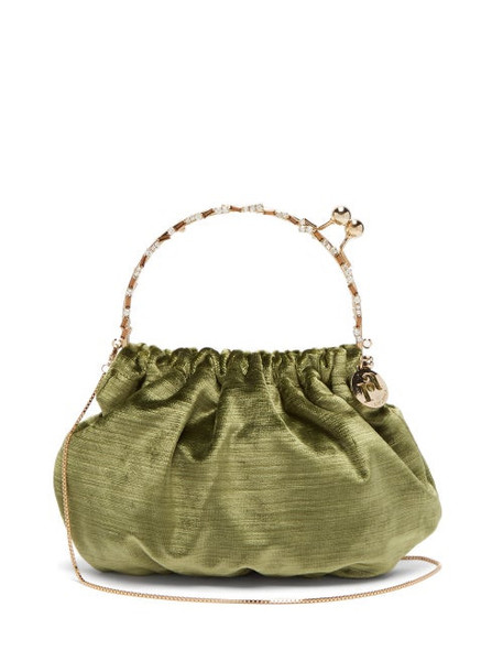 Rosantica By Michela Panero - Versailles Crystal Embellished Velvet Clutch Bag - Womens - Green