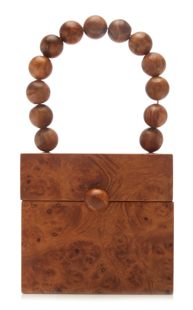 Cult Gaia Eos Pine Wood Box Top Handle Bag in brown