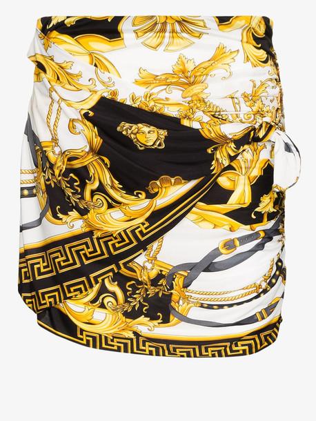 Versace baroque print gathered mini skirt