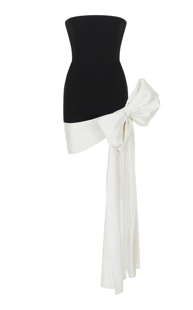 Rasario Bow Detail Mini Silk-Blend Dress in white