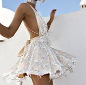 dress,sequins,mini dress,backless,halter neck