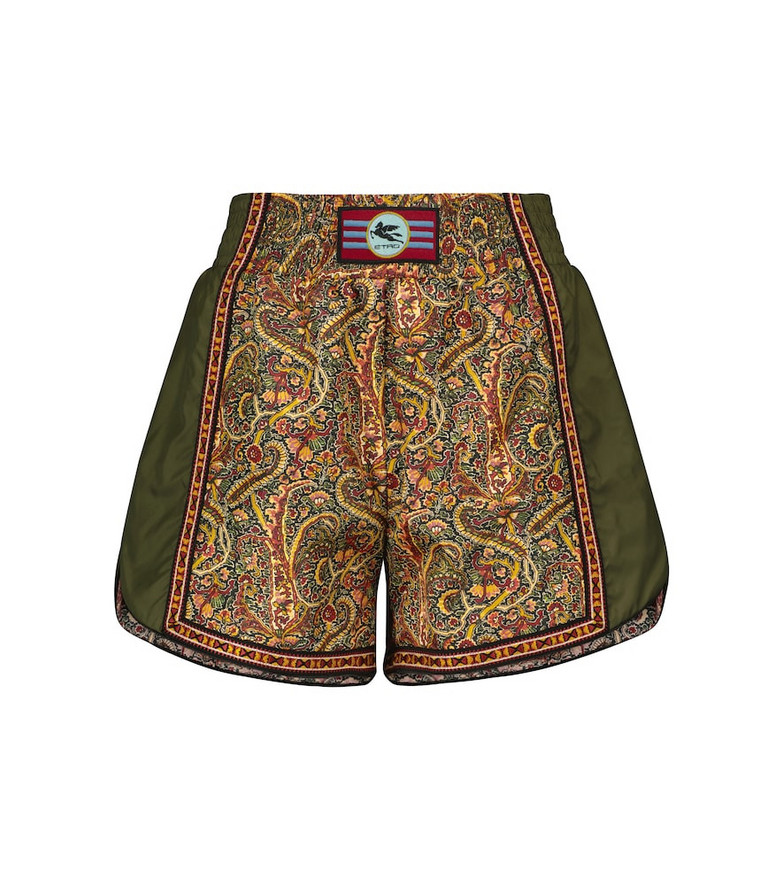 ETRO High-rise printed shorts in green