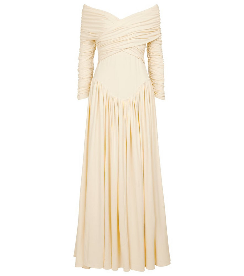 KHAITE Lilibet off-shoulder jersey maxi dress in white