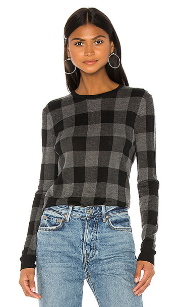Theory Plaid Crew Pullover in Gray