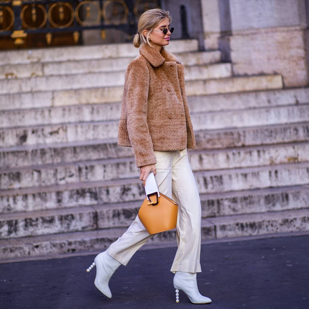 bag brown bag white boots heel boots white pants wide-leg pants brown coat faux fur coat double breasted