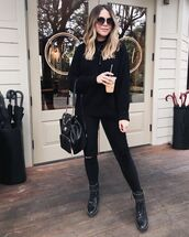 sweater,black sweater,black jeans,skinny jeans,black boots,black bag