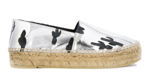 shoes silver shoes metallic shoes cactus kenzo espadrilles
