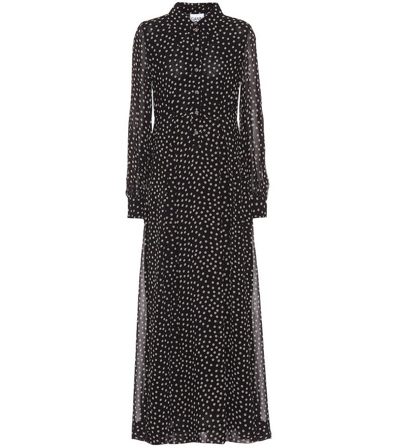 Ganni Printed georgette maxi dress in black
