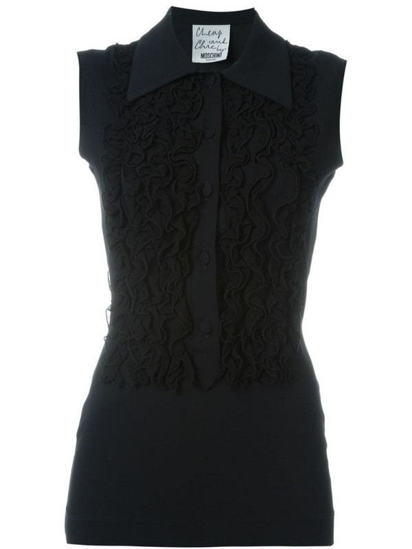 Moschino Pre-Owned frill detail top in black