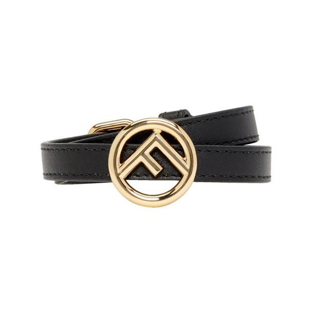 Fendi Black Leather F is Fendi Bracelet