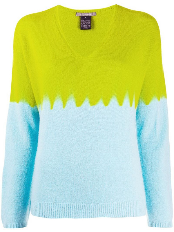 Suzusan v-neck colour blocked jumper in green