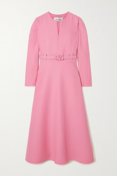 VALENTINO - Belted Wool And Silk-blend Crepe Dress - Pink