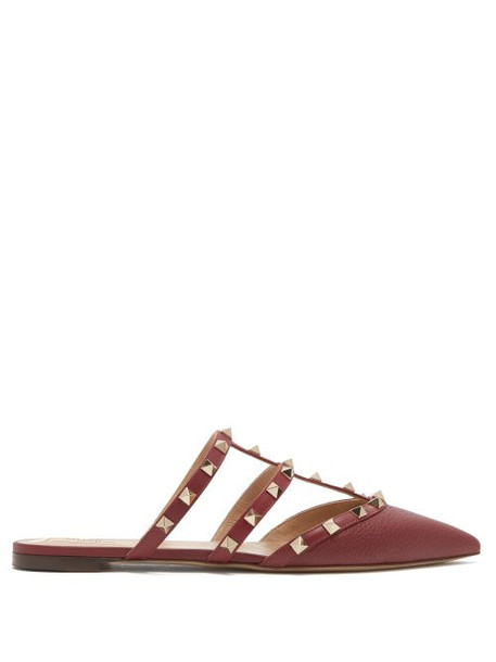 Valentino - Rockstud Caged Grained Leather Mules - Womens - Burgundy