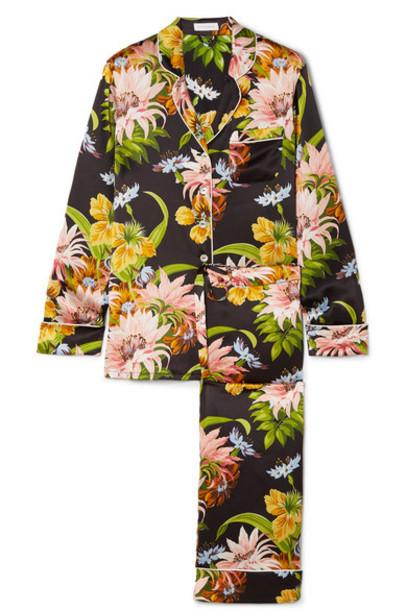 Olivia von Halle - Lila Floral-print Silk-satin Pajama Set - Black