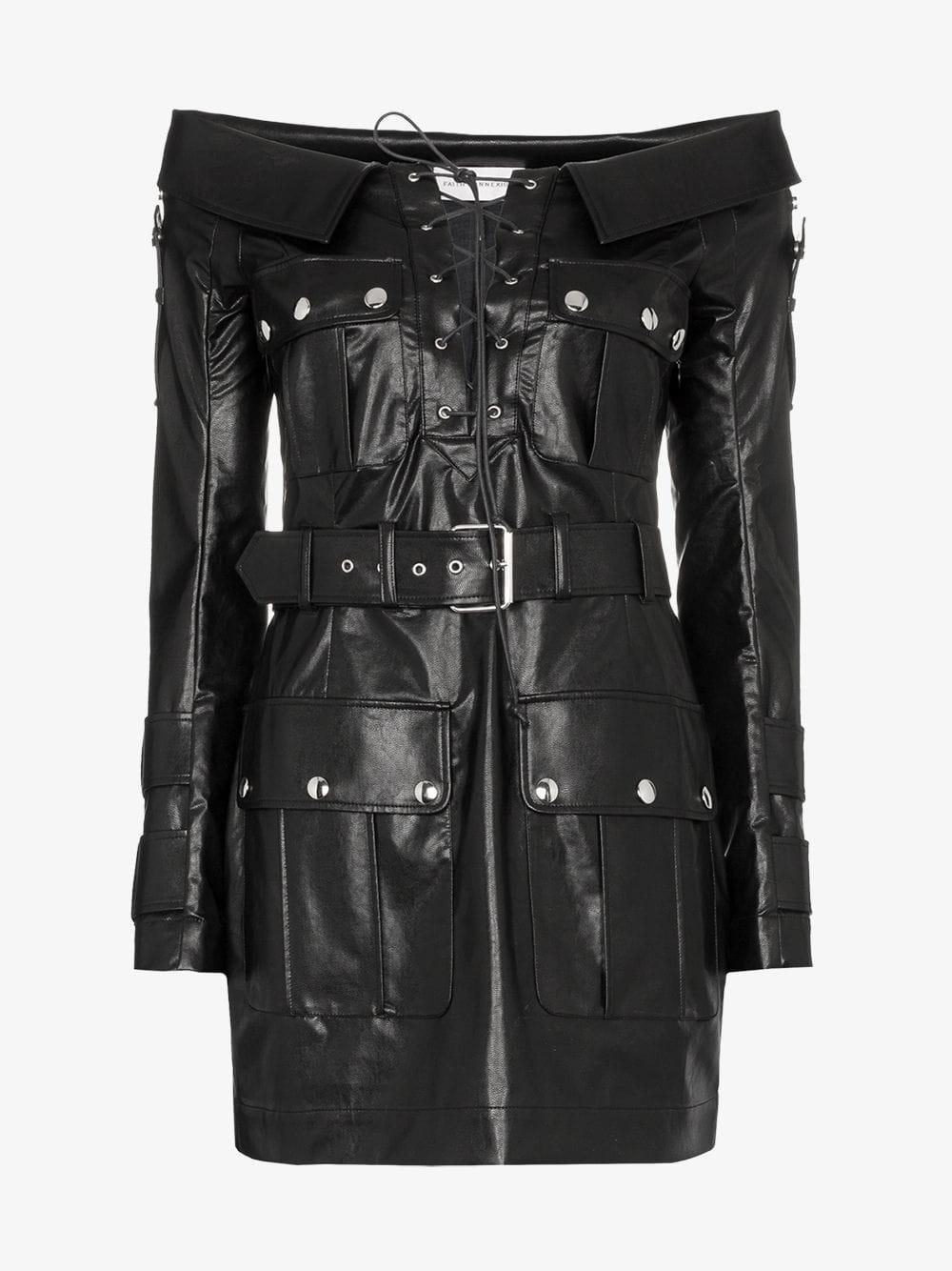 Faith Connexion Bardot lace-up faux leather mini dress in black