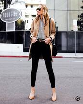 coat,beige coat,black skinny jeans,high waisted jeans,pumps,striped shirt,gucci belt,black bag