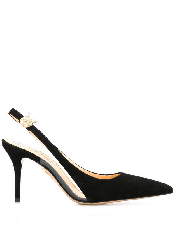 Charlotte Olympia pointed toe slingback pumps in black