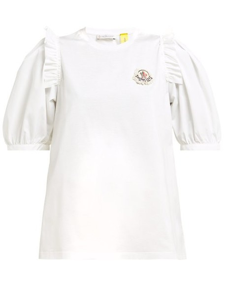 4 Moncler Simone Rocha - Embellished Logo Cotton T Shirt - Womens - White