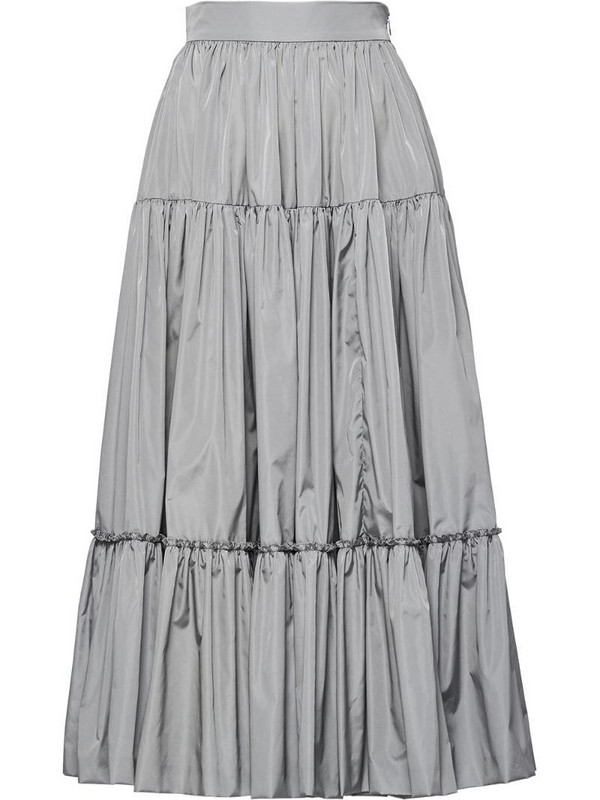Prada full tiered midi skirt in grey
