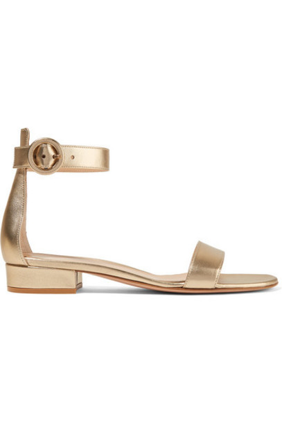 Gianvito Rossi - Versilia 20 Metallic Leather Sandals - Gold