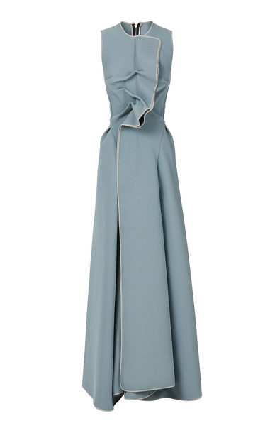 Maticevski Nonchalant Crepe Wrap Gown in blue