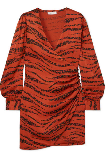 Anine Bing - Penelope Printed Silk-satin Wrap Mini Dress - Brick