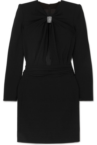 SAINT LAURENT - Embellished Cutout Cady Mini Dress - Black