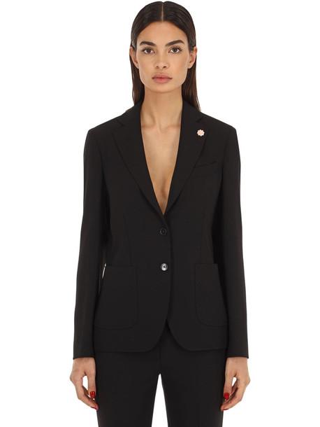 LARDINI Single Breasted Cady Jacket in black