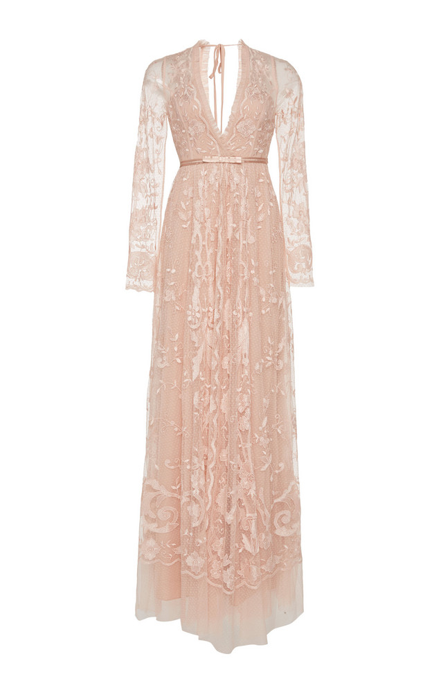 Needle & Thread Eleanor Embroidered Multi-Layer Tulle Gown Size: 0 in pink