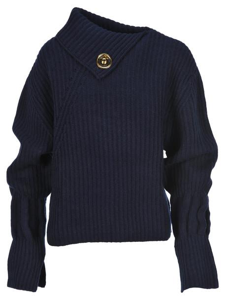 J.W. Anderson Jw Anderson Asymmetric Collar Sweater in navy