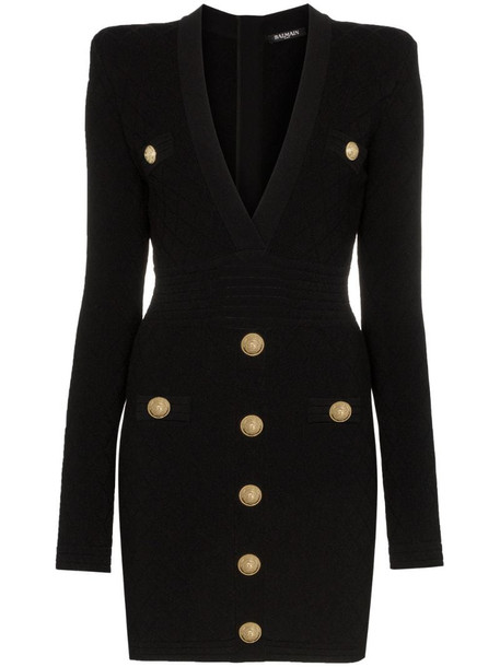 Balmain button-embellished quilted dress in black