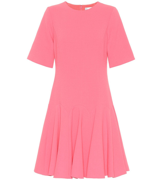 Oscar de la Renta Stretch wool-crêpe dress in pink