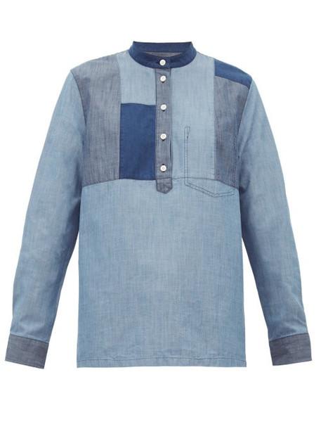 A.P.C. A.p.c. - Isaure Patchwork Cotton Chambray Shirt - Womens - Denim